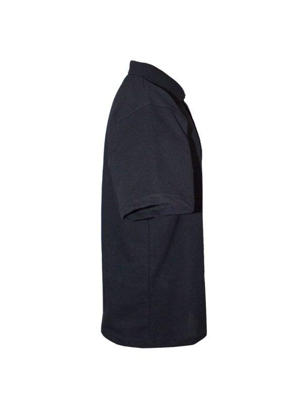 Хлопковая рубашка-поло на трех пуговицах чёрная-708