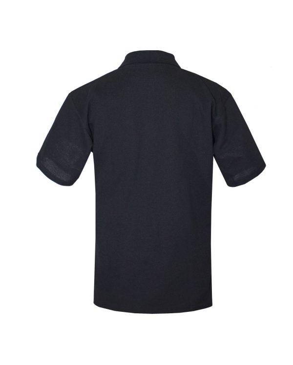Хлопковая рубашка-поло на трех пуговицах чёрная-706