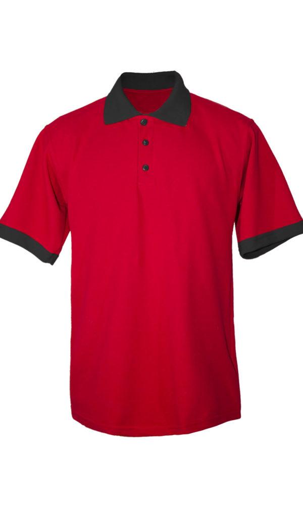 Хлопковая рубашка-поло на трех пуговицах с чёрной отделкой-0
