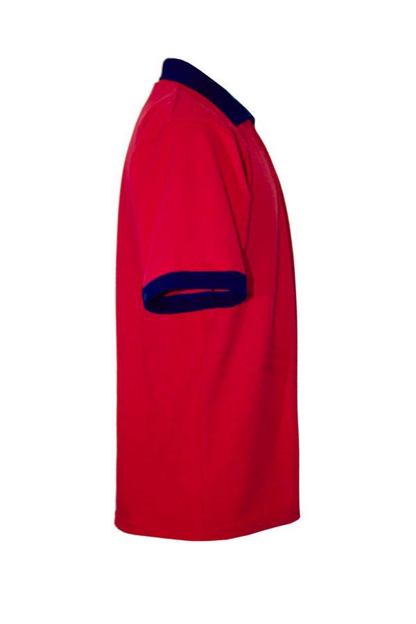 Хлопковая рубашка-поло на трех пуговицах с синей отделкой-699