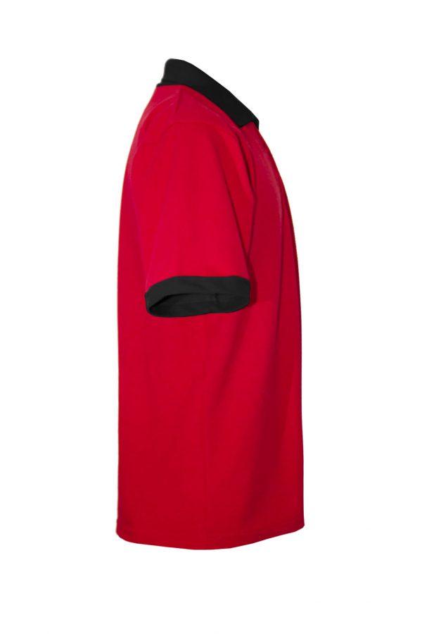 Хлопковая рубашка-поло на трех пуговицах с чёрной отделкой-701