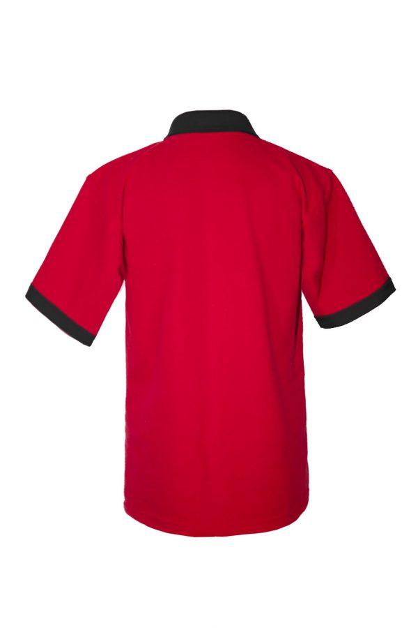 Хлопковая рубашка-поло на трех пуговицах с чёрной отделкой-700