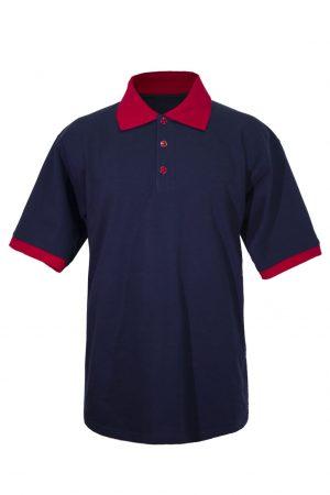 Хлопковая рубашка-поло на трех пуговицах синяя с красной отделкой-0